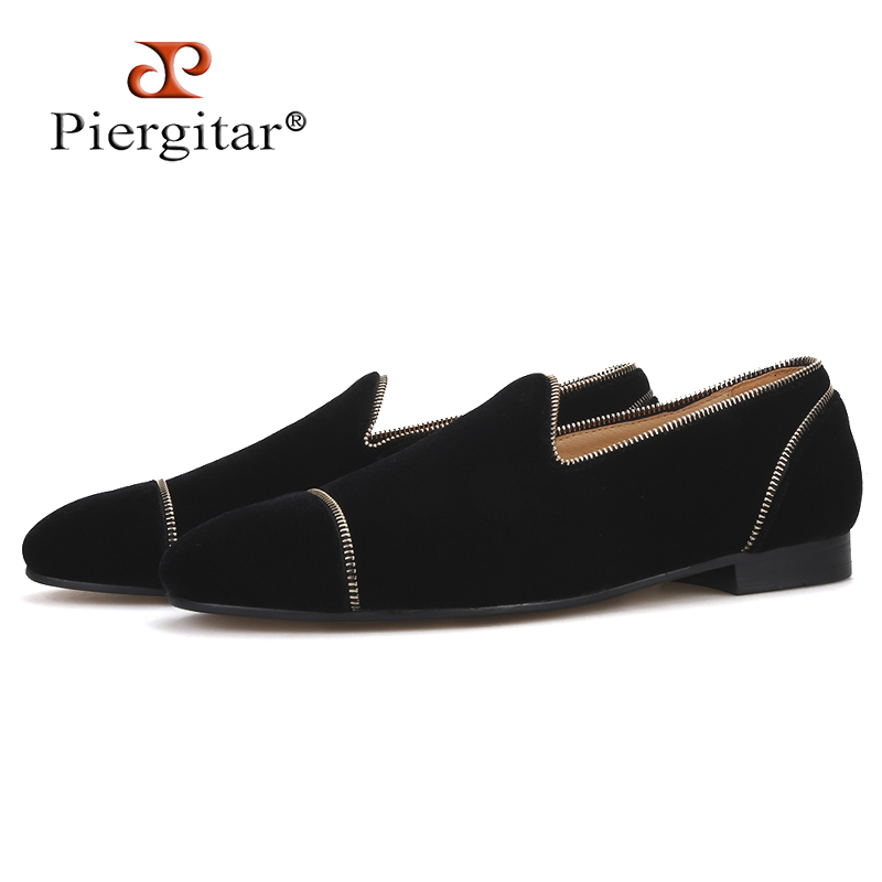 Piergitar 2019 Black colors velvet handmade men's loafers with Zippers design party and wedding smoking slippers leather insole
