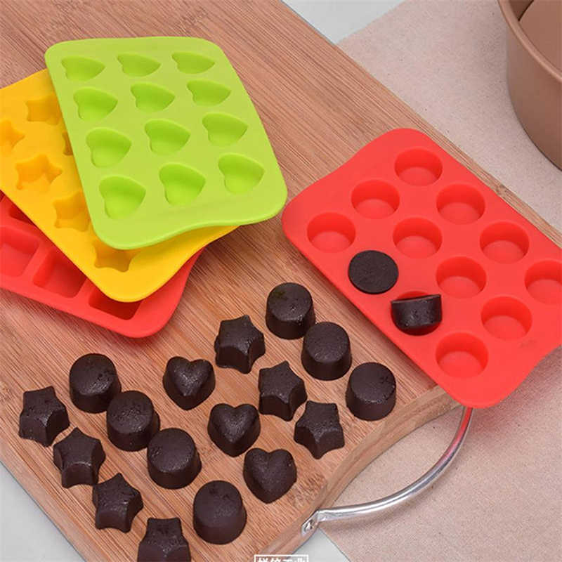 12 Holes Ice Cube Heart Round Shape Silicone Chocolate Mold Ice Freeze Mold Bar Pudding Jelly Chocolate Maker Mold 798006
