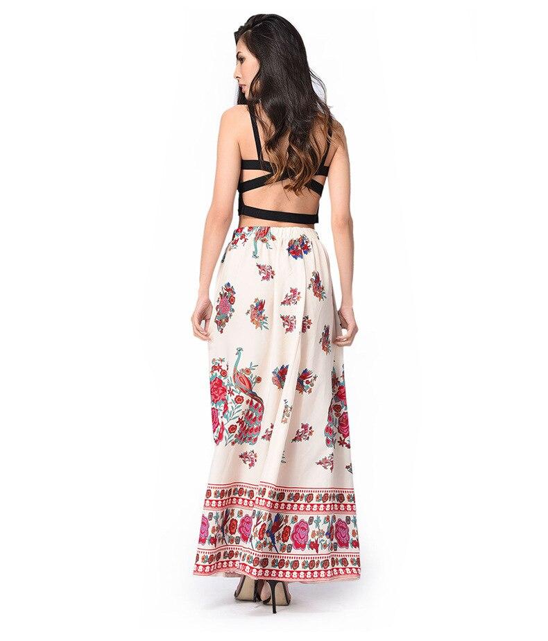 34dac8265dd38 ̿̿̿(•̪ )Été vintage rétro bohème de femmes long maxi jupes imprimer ...