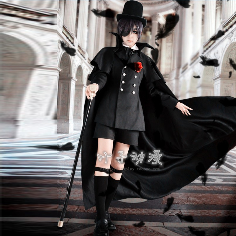 black butler ciel phantomhive black funeral uniform anime