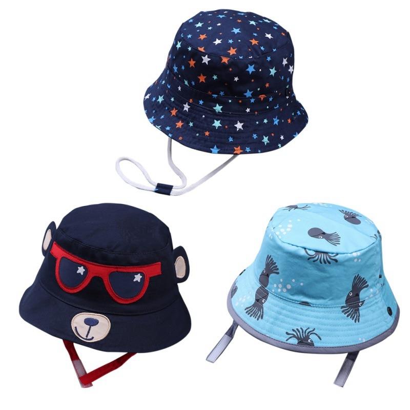 2fb1f6b46d40ca Cute Baby Hats Cool Panama Summer Baby Cap Boys Girls Print Caps Kids  Cartoon Hat Sunhat Baby Hat Newborn Baby Accessories