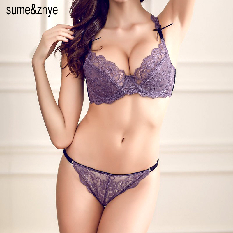 New 2019 Fashion Style Underwear Women Embroidery Sexy Large Size  Transparent Lace Bra and panty set 36 38 40 42 C D Cup 4a4c45361