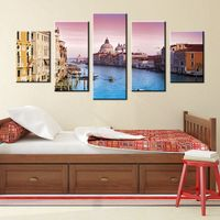Hot Gift Office Decor High Definition Venice Seascape Pink Dusk Painting Print On Canvas For Living