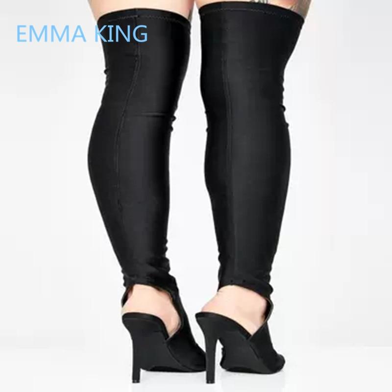 b2297c48854a0 Chaussures De Mince D été Femme Toe Pour Genou Talons Longues Hauts Bottes  Picture Stretch Sur ...
