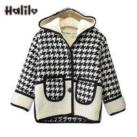 Halilo Kinder Coat Schwarz Weiß Plaid Mädchen Warme Mantel Kinder Winter Herbst Jacke Mädchen Jacken Mädchen Oberbekleidung Mäntel Mit Kapuze Tuch