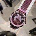 Совершенно новый дизайнер удачи вращающийся наручные часы лошадь для женщин кристаллы спиннинг часы с изображениями животных Untra тонкий Ми...