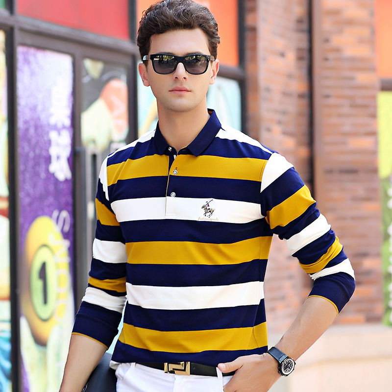 Spring autumn new arrival long sleeve   polo   shirt men business casual striped cotton fashion homme camisa plus size XXXL 8803