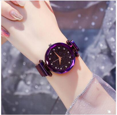 Luxury Rose Gold Women Watch Starry Sky Magnetic Mesh Band Quartz Wristwatch Diamond Watches Relogio Feminino Montre Femme 2019