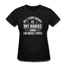 New Fashion Casual Cotton Short-Sleeve Short Crew Neck Funny All I Care About Is My Horse Christmas Womens Shirt