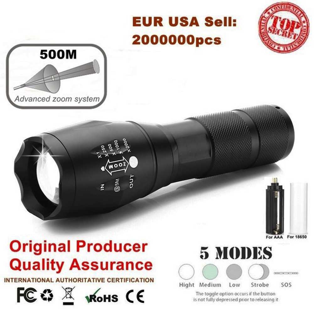 Portable Zoom Flashlight XM-LT6 9000LM 5 Mode LED Hunting Camping Tactical Switch Luz