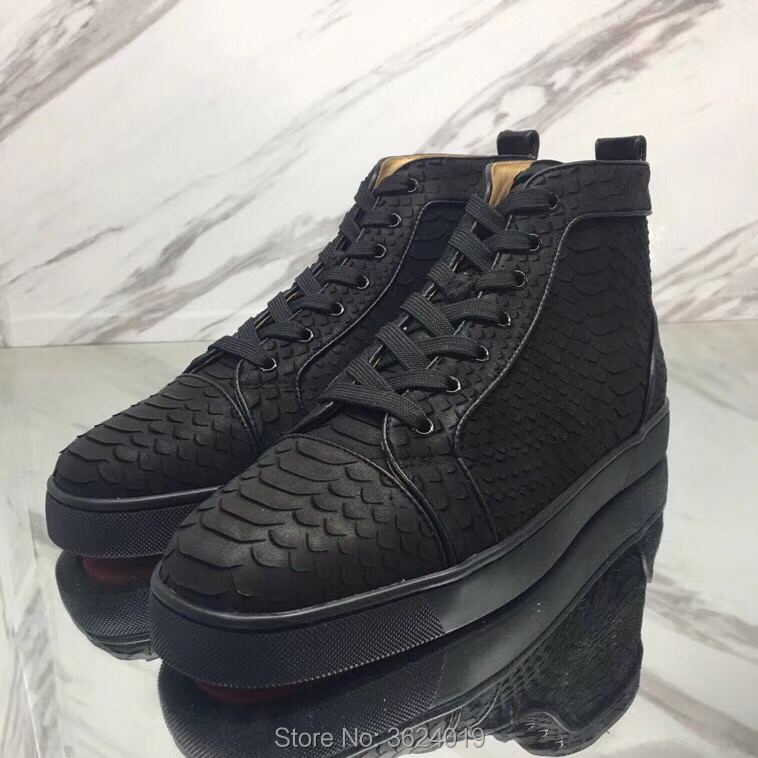 official photos a08c4 8b31b US $135.0 |The unique Rantus Orlato High Cut sneakers cl andgz Black Snake  Red bottoms Shoes For Man Leather Loafers Flat Footwear Lace Up-in Men's ...