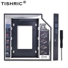 """TISHRIC Универсальный алюминиевый 2-ой HDD Caddy 12,7 мм SATA 3,0 для 2,"""" SSD жесткий диск чехол для драйвера корпус DVD CD-ROM адаптер Optibay"""