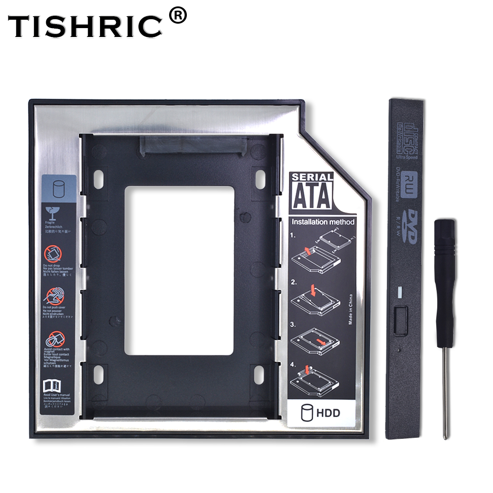 "TISHRIC Universal Aluminum 2nd HDD Caddy 12.7mm SATA 3.0 For 2.5"" SSD Hard Disk Driver Case Enclosure DVD CD-ROM Adapter Optibay"