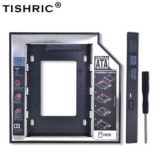 """TISHRIC Universal Aluminum 2nd HDD Caddy 12.7mm SATA 3.0 For 2.5"""" SSD Hard Disk Driver Case Enclosure DVD CD-ROM Adapter Optibay"""