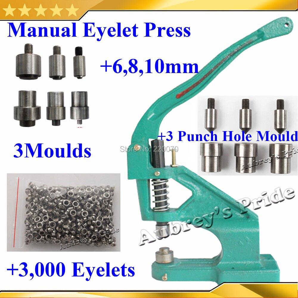 Metal Manual Grommet Press Eyelet Machine 6 8 10mm 3 Size Die Mould 3 Punch Hole