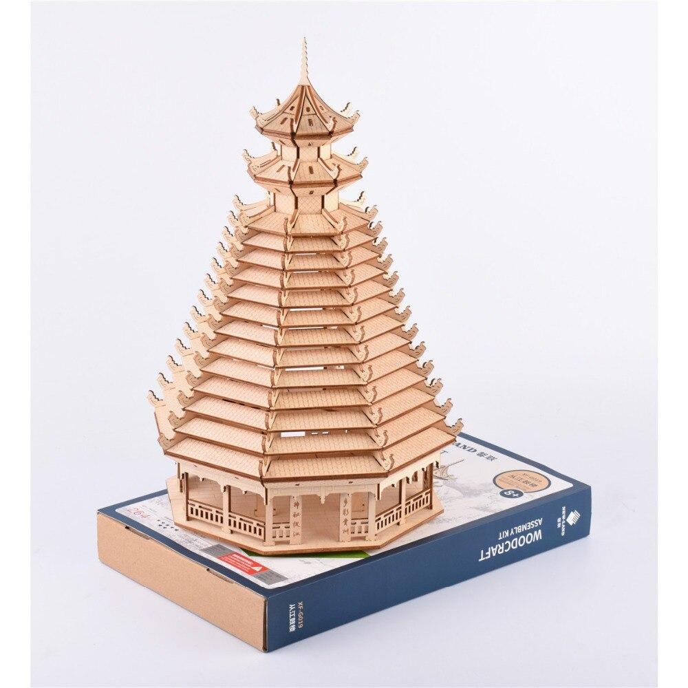 3D puzzle en bois Nulong Laser De Coupe 3D bois casse-tête Woodcraft Assemblée Kit-Congjiang drumTower avec 204 pièces Pièces