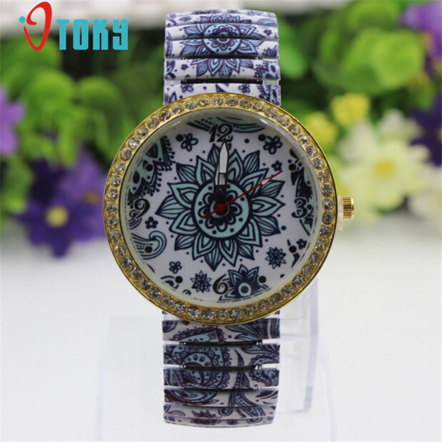 New Women Watches Blue and White Porcelain Pattern Golden Crystal Bezel Casual Quartz Stretch Wrist Watch Creative Apr12 new brand fashion stretch mens jeans blue and white chinese porcelain printing jeans men casual slim fit trousers jpt003