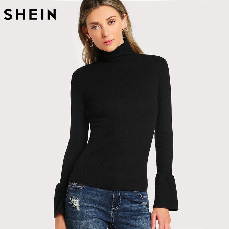 SHEIN Bell Cuff Rib Knit Fitted Tee Shirt Autumn Women's Long Sleeve Tops Black High Neck Work Elegant T-shirt Top
