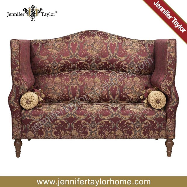 Red Color Loveseat 2 Seater Sofa With Bolster Living Room Sofa Bench Seat High Back Seat