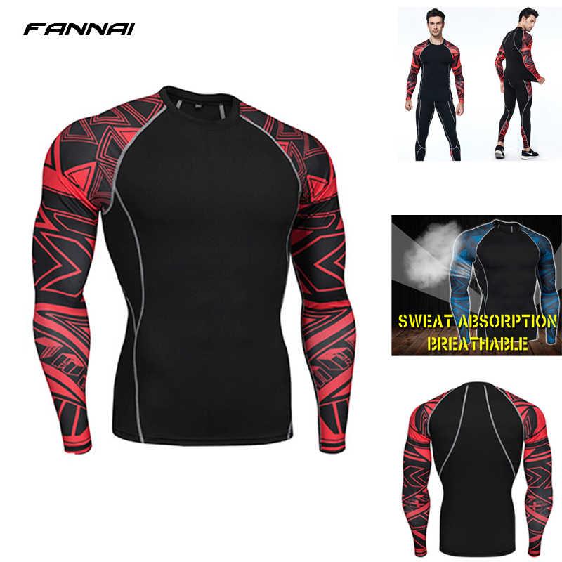 dcee88dc7554c Сжатия Фитнес ММА работает рубашка Для мужчин Рашгард мужской футболка с длинным  рукавом перекрестный Бодибилдинг Для