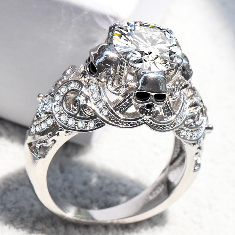 ERLUER Gothic Skull Luxury Style Engagement Wedding