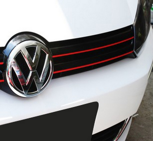 mk6 gti gli styling red line reflective pvc car sticker front grille trim strip for volkswagen. Black Bedroom Furniture Sets. Home Design Ideas