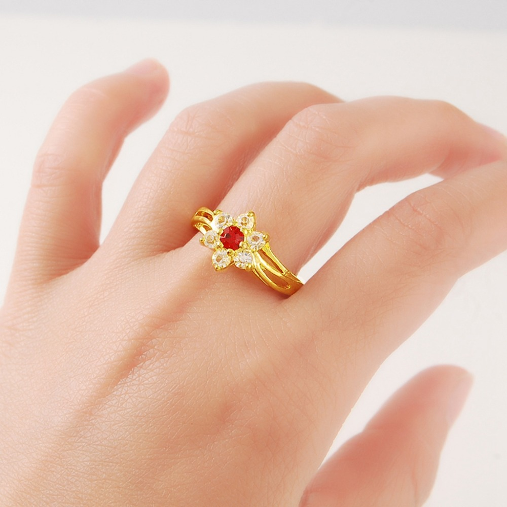 Roundness Red Synthetic Stone Ring Crystal Flower Starfish Design ...