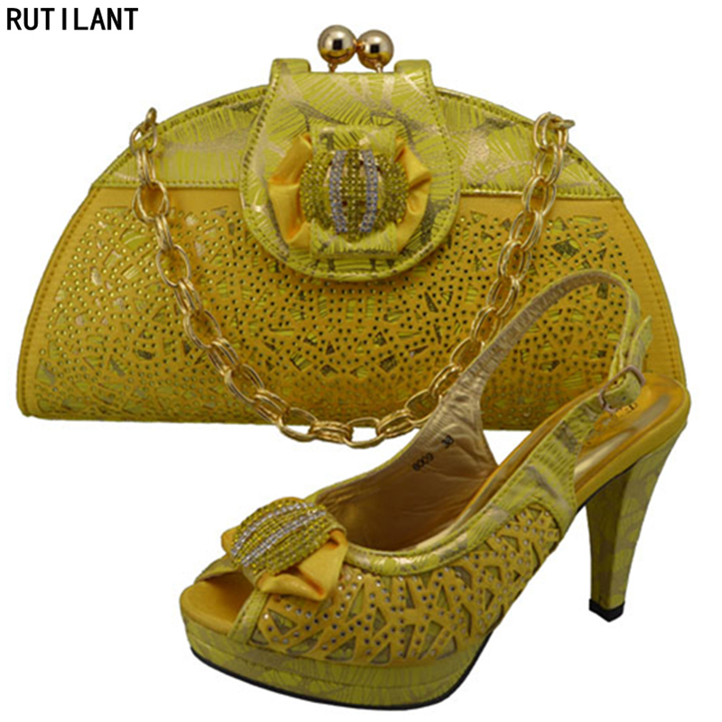 Dernières Mariage Couleur Sac Ensemble Or or Africain Parti Chaussures vert Les Ensembles Pour Et De Femmes Chaussure Dames Nigérien Pu Italiennes Ciel rOrg5