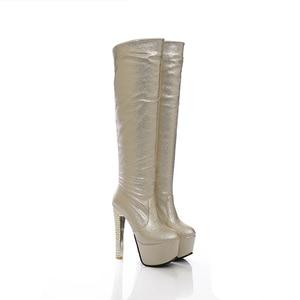 Image 2 - 2019 جديد 15 سنتيمتر سوبر عالية الكعب النساء الأحذية 6 سنتيمتر منصة حذاء برقبة للركبة السيدات فستان نادي أحذية رقص الذهب الفضة الأزرق