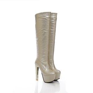 Image 2 - 2019 חדש 15cm סופר עקבים גבוהים נשים מגפי 6cm פלטפורמת הברך גבוהה מגפי גבירותיי שמלת מועדון ריקודים זהב כסף כחול