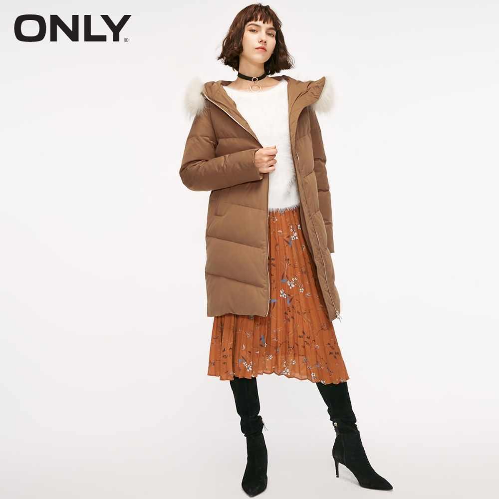 Только Женская куртка-пуховик с капюшоном и меховым воротником на талии | 118312551