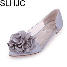 Slhjc осень 2017 г. камелии плоская подошва обувь с острым носком сладкий Шелка Атласная цветок мелкий рот Прозрачный Туфли без каблуков летняя Сандалии