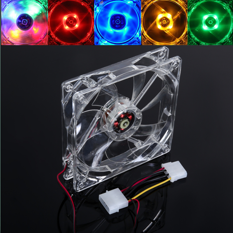 <font><b>120</b></font>*<font><b>120</b></font>*25mm LED Light CPU Cooling Fan Clear Transparent Quad 1200 RPM Heat Sink Heatsink <font><b>Cooler</b></font> Ventilador for Computer PC Case image