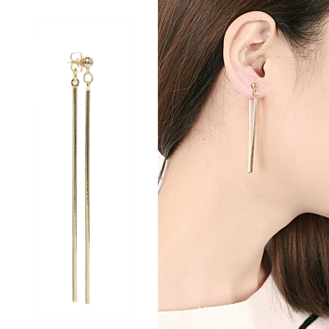 Hot Simple Rock Statement Gold Plated Earrings Double Long Strip