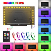 LED USB Night Light Lamp For TV PC Decoration 5050 RGB LED Strip Lights with 20Key Remote IR Music Controller Sound Sensor Lamps(China)