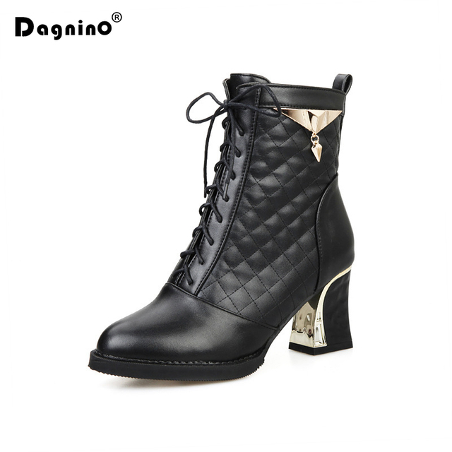 DAGNINO Fashion Thick High Heel Pumps Women Metal Decoration Ankle Martin Boots Square Toe Shoes Big Size 34-48 Zapatos Mujer