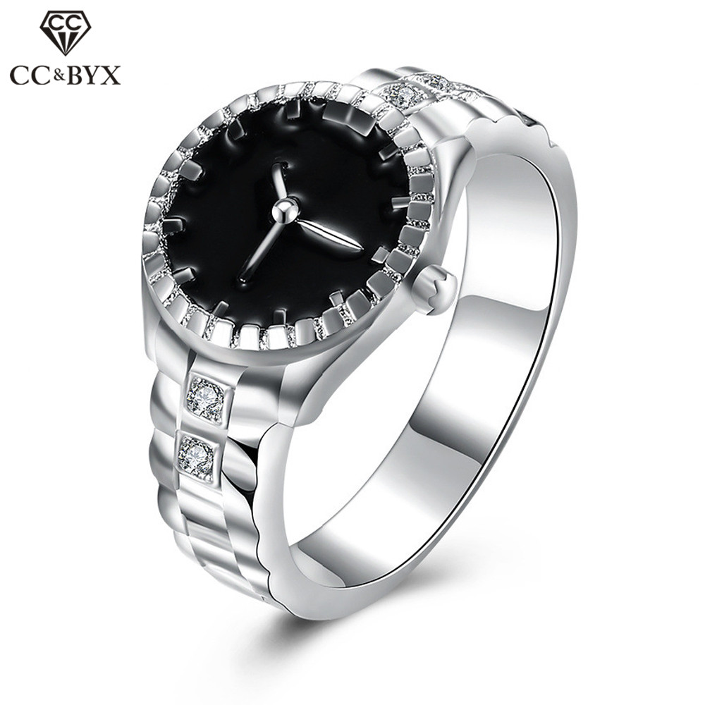 CC Jewelry Silver Plated Fashion Round Watch Rings For Women Trendy Party Wedding Engagement Ring Anneau Circulum Anillos CC530