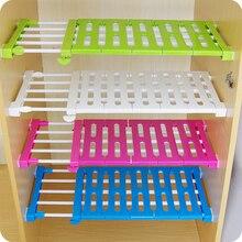 new 2 sizes kitchen organizer wardrobe storage separator kitchen cabinets partition shelves nail free storage rack