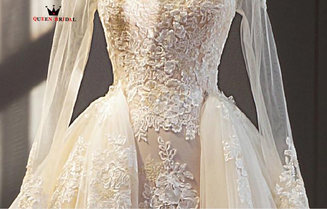 Custom Made Detachable Skirt Fluffy Lace Wedding Dresses Mermaid Long Sleeve Lace Organza Vestidos De Novia Wedding Gowns WD10