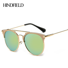 HINDFIELD Oro Metal de La Manera gafas de Sol Mujer Marcas de Diseño Medio Marco Mujer gafas de Sol gafas de sol mujer