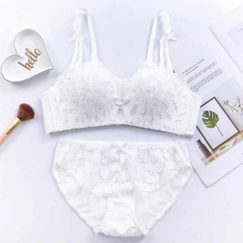 747da5a1945e2 Newest Ladies Bra Sets Thin Section Japanese Sweet Small Chest Half Cup  White Underwear Gathered Small