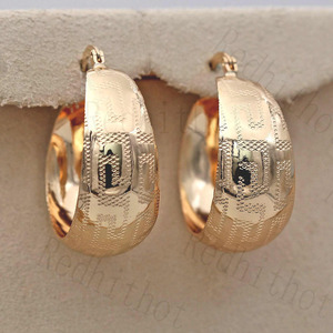Luxurious Trendy Hoop Earrings for Women Gold Filled Convex Women Pageant Earrings Fashion Jewelry Wedding accessories