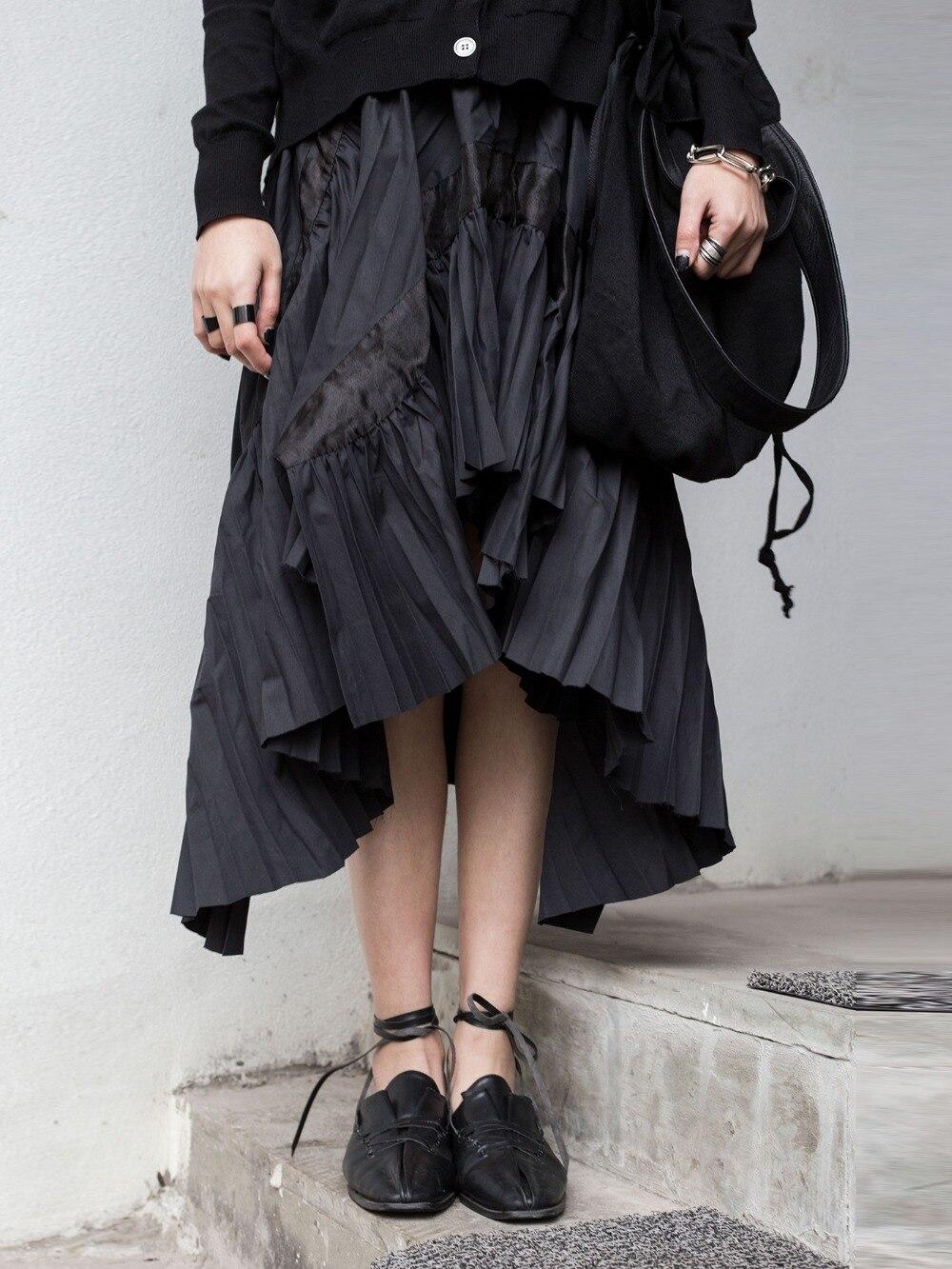 2019 Nuevo Irregular Viento Coreano Cakucool Mujer Oscuro Negro Hueco Y Plisada Primavera Falda Verano BpWxxvwUdq