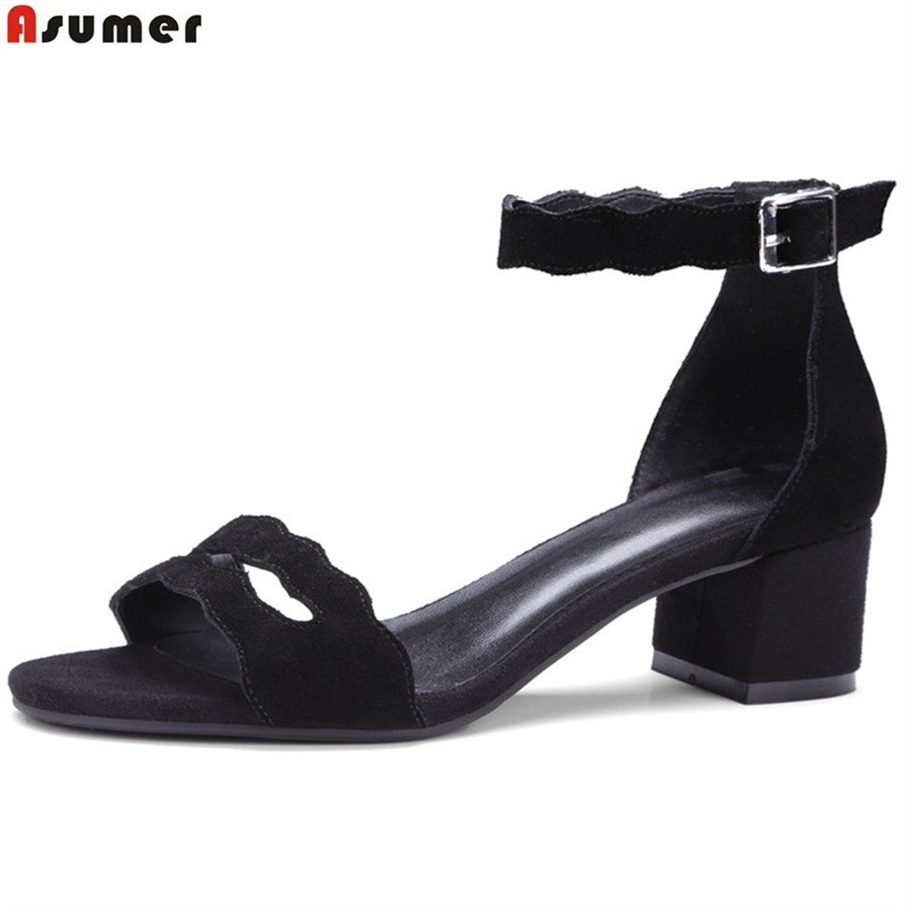 ASUMER black fashion summer new arrival shoes woman buckle cow suede high heel sandals square heel leather shoes big size 33-42 new arrival dreambox cow suede shoes gold and black rivets fashionable parties and banquets men s shoes european style smok