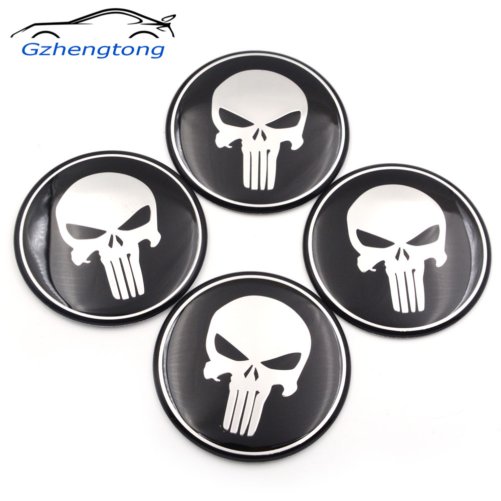 Gzhengtong 56mm 60mm 65mm 75mm punisher car steering wheel center stickers hub cap emblem badge decals