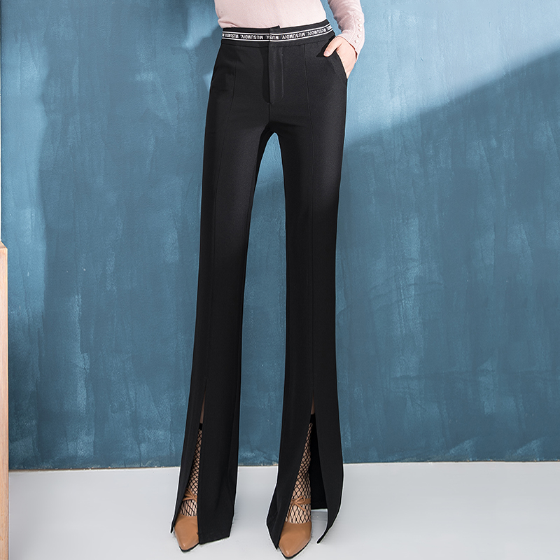 High Split   Wide     Leg     Pants   For Women 2017 New Autumn Winter Elegant Office Trousers Black Casual Long Trousers Femme Hot