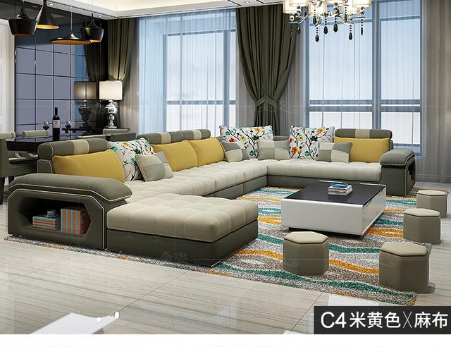 Velvet hanf linen hemp fabric sectional sofas  Living Room Sofa set furniture alon couch puff asiento muebles de sala canape U