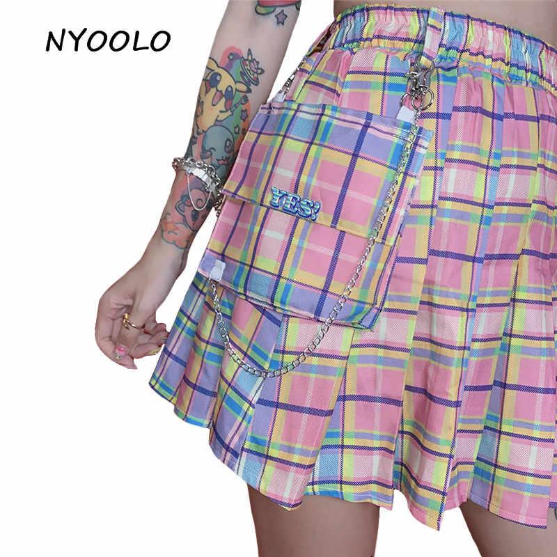 NYOOLO Cách Học Ngọt Bé Gái Kẻ Sọc Cao Cấp Váy Mùa Hè Phố Lớn Bỏ Túi Lưng Thun Chữ A Mini Phụ Nữ dây Chuyền