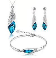 2015 Nova chegada de cristal azul zircão 925 prata esterlina jóias senhoras set pulseiras queda brincos colares de presente dos Valentim