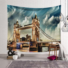 Nodic 3D Building Large Mural Tapestry Wall Hanging Hippie Beach Towel Tablecloth for Bedroom Livingroom Background Home Decor